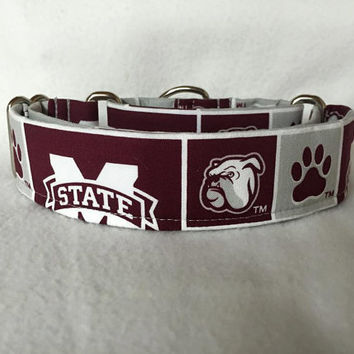 "Mississippi State ""Bulldogs"" Martingale or Quick Release Collar 1.5"" Martingale Collar or 2"" Martingale Collar"