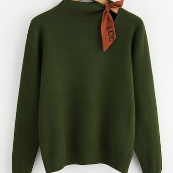 Plus Self Tie Neck Sweater