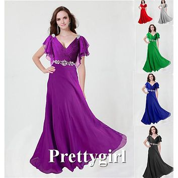 0097 pretty girl V neck wiht sleeve purple grey royal blue elegant party maxi plus size evening dress long 2014 new arrival