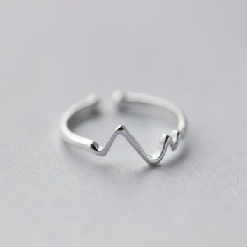 Sterling Silver SoundWave Heartbeat Ring