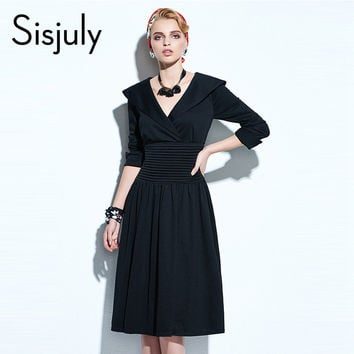 Sisjuly Rockabilly Style Women Dress Pin Up V Neck Vintage Black 50s Ankle-Length Pullover Red Vintage Party Dresses Elegant