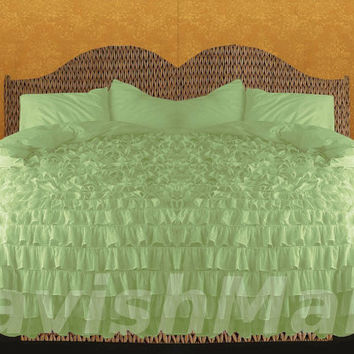 Egyptian Cotton Sage KING or CAL KING Ruffle Style Duvet Cover Set 3pc 1000tc