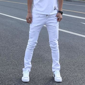 Hot Sell White Ripped Jeans Men With Holes Super Skinny Famous Designer Brand Slim Fit Destroyed Torn Jean Pants For Male