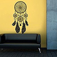 Wall Decal Vinyl Sticker Decals Art Decor Design Dreamcather Dream Cather Symbol Feathers Bedroom Dorm Office Good Night Tattoo(r1084)
