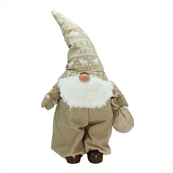 """27.5"""" Beige and White """"Jolly James"""" Gnome Christmas Tabletop Decoration"""