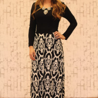 Pure Elegance Maxi Dress in Black and White