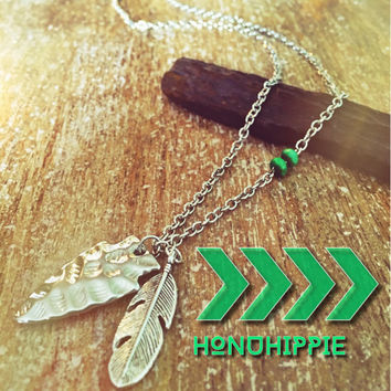 Womens Fashion Boho Necklace , Hippie jewelry pendant , native american feather and arrow