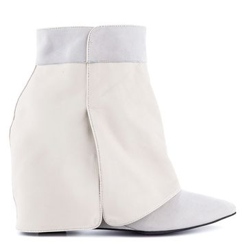 LONDON TRASH SIRI WEDGE BOOTIE - WHITE LEATHER
