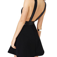 Black Deep V-Neck Backless Leather Top Skater Dress