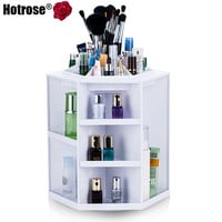 360 Degree Rotating Makeup Organizer Cosmetic Display Brush Lipstick Storage Stand Box Hot Selling Makeup Organizer White Color