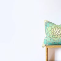 """Ombre Geometric Mint Pillow Cover with Green, Teal, Blue Flowers - Cotton Cushion Cover - Pillow Cover- 45cm Cushion - 18""""x18"""" Cushion Cover"""
