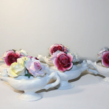 Hand Painted Porcelain Rose Figurine Lot, Bone China Aristocrat England, Wedding Table Decor