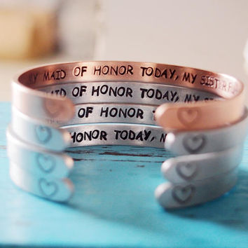 Maid of Honor Gift, Maid of Honor Jewelry, Rose Gold Maid of Honor Bracelet, Silver Maid of Honor Gift, secret message bracelet wedding gift