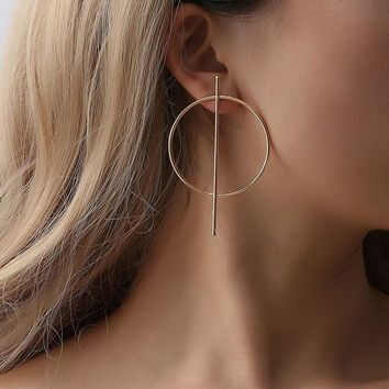 H:HYDE Stylish Simple Gold Color Geometric Circle Round Circle Earrings for Women  Steampunk Style Women Party Jewelry Accessor