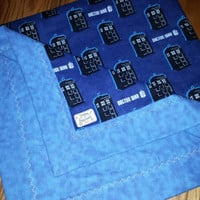 DOCTOR WHO TARDiS Fabric BLANKeT with CUSToM WHOVIAN Tardis Stitching!  Whovian Baby Shower Lap Crib Stroller Blanket Ready to SHiP!