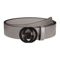 GUCCI Men's Interlocking G GG logo Belt Gray 368186 Size 40 NWT