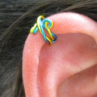 Spiral Ear Cuff Ear Wrap - Twisted Peacock Blue & Yellow