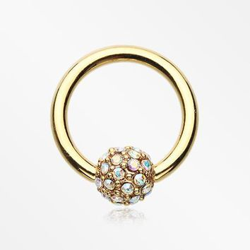 Golden Pave Sparkle Full Dome Captive Bead Ring
