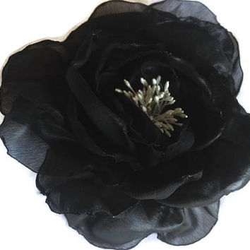 Classic Romantic Bridal Contrast Dark Black Sheer Chiffon Silky Rose with Ivory Stamens Brooch Pin Corsage For Sash Completely Handcrafted