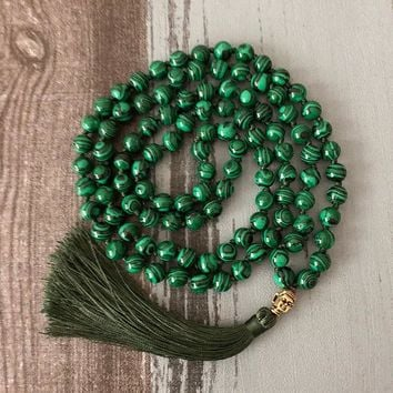 Green Malachite Mala 108 Beads Necklace Buddha Prayer Beads Meditation Tassel Necklace Japa Mala Hand Knotted Necklaces