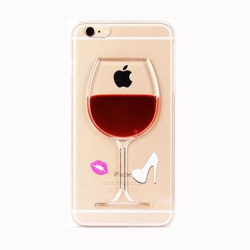 SPECIAL FREE + Shipping Fashion cartoon liquid drink cocktail red wine goblet glass sexy lips high heels design clear cell phone For Iphone