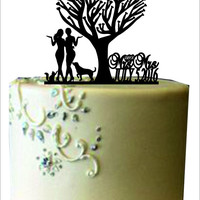 Mrs and Mrs wedding cake topper.wedding silhouette couple cake topper with dog,same sex cake topper,lesbian cake topper,unique cake topper