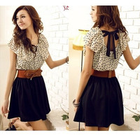 Korean Women Summer New Fashion Short-sleeve Dots Polka Waist Dress VVF [8805194183]