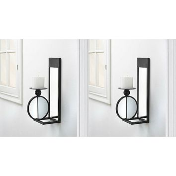 Set of 2 Black Mirrored Wall Sconces