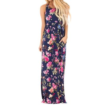 Nlife Women Sleeveless Round Neck Floral Printed Pleated Maxi Dress