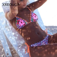 2018 Sexy Print Bikini Leopard Bikini Set Woman Thong Swimsuit Floral Push-up Roped Bandage Triangle Beach Swimming Wears BKCS82