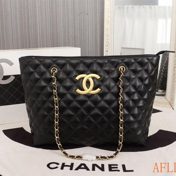 HCXX 19Sep 759 Fashion Embossing Chain Crossbody Pouch Leather Shopper Casual Large Capacity Tote Bag 35-28-12cm