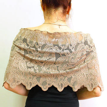 Champagne lace bridal shawl, wedding shrug bolero top, cappucino off shoulder stole, evening dress coverup capelet romantic modern wedding