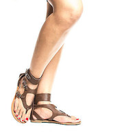 Cosmos Gladiator Buckle Thong Slip On Flat Sandals