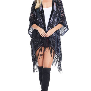 Velvet Outlines Shawl Cardigan