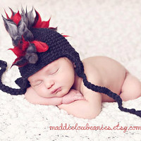 Mohawk hat baby boy newborn size black and red earflap punk hat