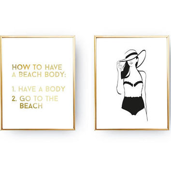 Set Of 2 Prints, How To Have A Beach Body, Gold Foil Print, Chic Bedroom, Home Decor, Beachsuit Print, Typography Poster, Funny Quote Poster
