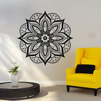 Wall Decal Mandala Ornament Geometric Indian Moroccan Pattern Namaste Yoga C67