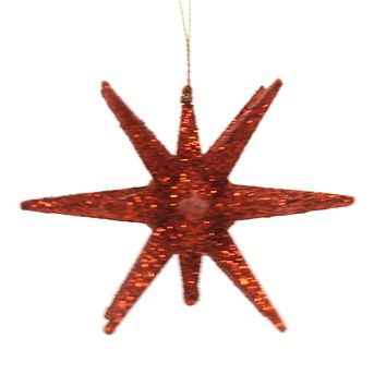 Holiday Ornaments STARBURST Plastic Christmas Glittered T2445 Red