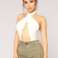 Don't Get It Twisted Halter Top - Ivory
