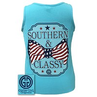 Girlie Girl Originals Southern Classy USA Bow Comfort Colors Lagoon Blue Shirt Tank Top