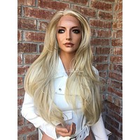 Light Ash Blond Human Hair Blend Multi Parting Lace Front Wig - Tammi