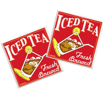 Iced Tea Coasters, Iced Tea, Kitchen decor, spoon rest, Fresh brewed, Kitchen Coasters, tile coasters, Southern decor, Country decor, Tea