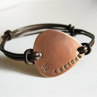 Mens Copper Guitar Pick Bracelet, Leather Bangle - Personalized Hand Stamped Custom Message - Men, Groomsmen, Boyfriend, Anniversary Gift