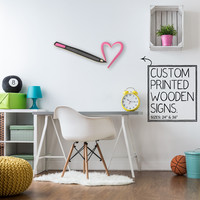 Lip Liner Make Up Pen Heart Custom Printed Wood Sign Unique Trendy Game Room