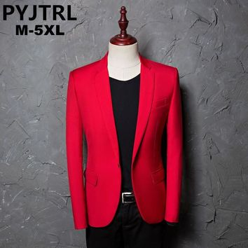 PYJTRL Men's Casual Red Suit Jacket Blazer for Stage Performers