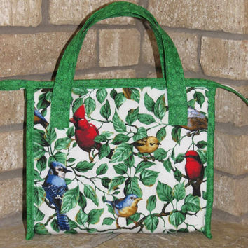 Insulated Lunch Bag, Tote, Birds and Leaves