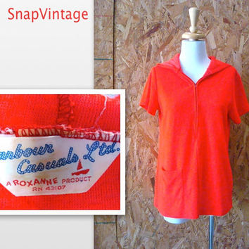 1960s Swimsuit Cover-up / Red Terry Beach Cover / Bathing Suit Cover-up / s