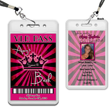 Pink Grunge Sweet 16 VIP Pass Invitation - Pink Royalty Invitations - Princess Photo VIP Invitations - Sweet 16 Bash Invite - Black - glitz