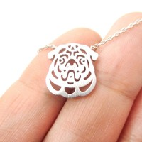 Pug Puppy Dog Face Cut Out Shaped Pendant Necklace in Silver | Animal Jewelry