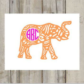 Aztec Monogram Elephant Decal - Elephant Sticker - Circle Monogram - Any Color - Perfect for Yeti, Car and Much More! Animal Decal - Patern